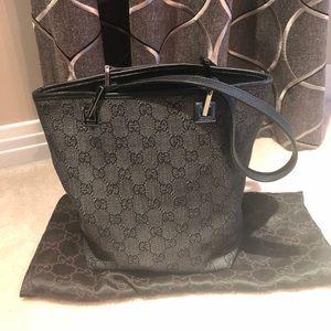 Gucci GG Navy Denim Canvas Shoulder Bucket Bag